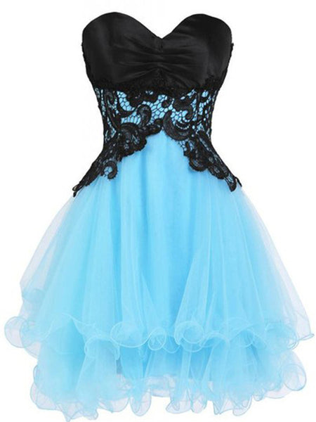 Sweetheart Neck Short Blue Prom Dress with Black Lace Flower, Short Blue Homecoming Dress, Graduation Dress