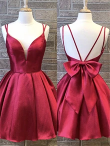 V Neck Burgundy Backless Short Prom Dresses, Burgundy Satin Short Prom Dresses Homecoming Dresses
