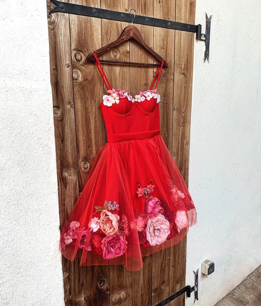 Sweetheart Neck Red Short 3D Floral Prom Dresses,  Red Floral Short Formal Homecoming Dresses