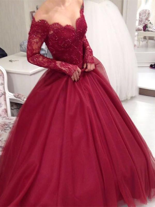 Custom Made Sweetheart Neck Long Sleeves Burgundy Lace Prom Dress, Burgundy Lace Formal Dress