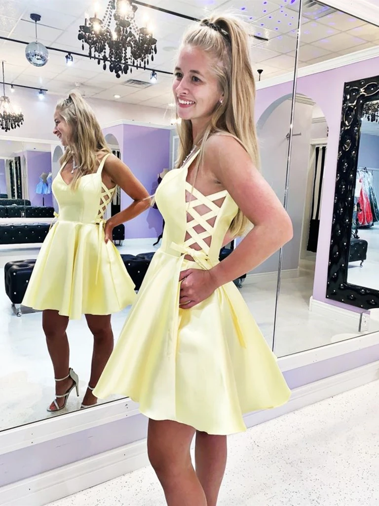 V Neck Yellow Short Satin Prom Dresses, Short Yellow Formal Evening Graduation Homecoming Dresses