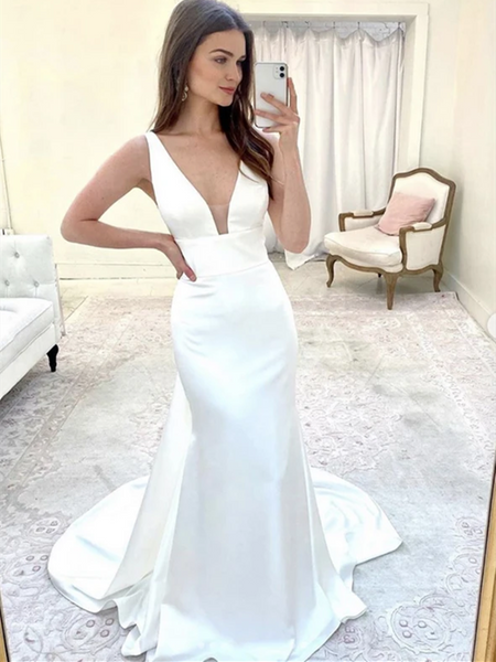 V Neck White Mermaid Long Prom Dresses, V Neck White Mermaid Long Formal Evening Dresses