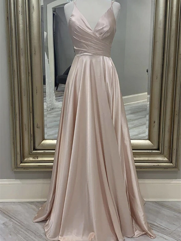 A  Line V Neck Satin Long Prom Dresses, Simple Satin V Neck Long Formal Evening Dresses