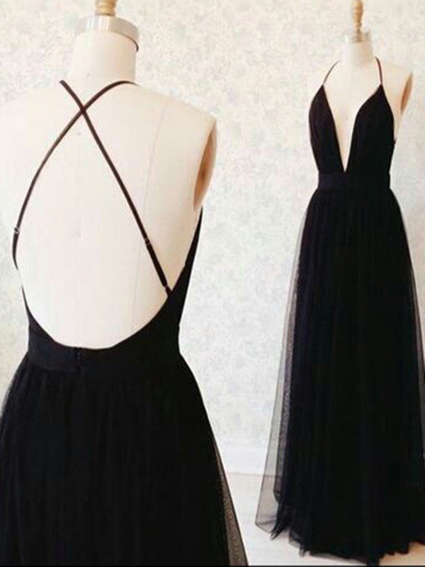 Custom Made A Line V Neck Black Backless Prom Dresses, Black Backless Formal Dresses, Bridesmaid Dresses