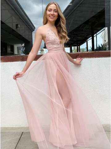 Elegant A Line Deep V Neck Pink Lace Long Prom Dresses with High Slit, Pink Lace Formal Evening Graduation Dresses