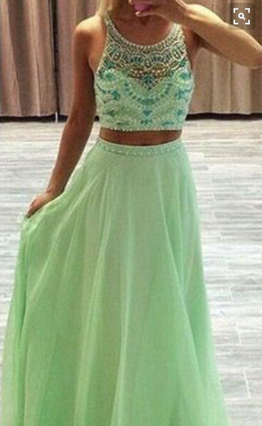 Custom Made 2 Pieces Round Neck Green Prom Dresses, 2 Pieces Formal Dresses