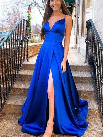A Line Simple V Neck Blue Satin Long Prom Dresses, Blue Satin Long Formal Evening Dresses