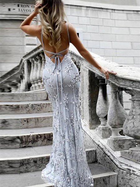 Spaghetti Straps Silver Gray Backless Mermaid Prom Dresses, Silver Gray Backless Graduation Dresses, Backless Mermaid Formal Dresses
