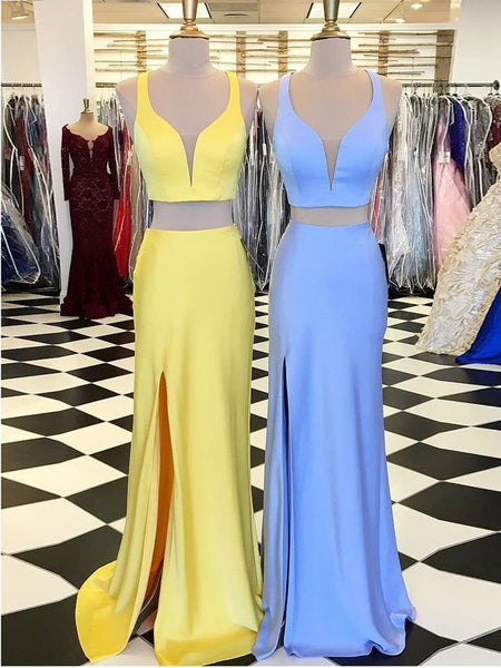V Neck Blue/Yellow Mermaid Two Pieces Satin Long Prom Dresses, 2 Pieces Blue/Yellow Formal Evening Dresses