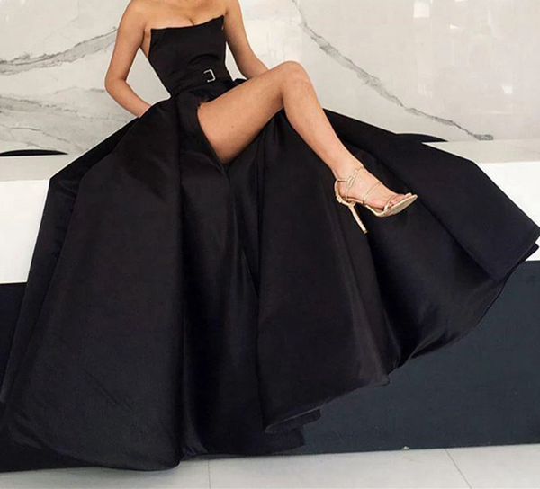 Strapless Black Long Satin Prom Dresses with High Leg Slit, Long Strapless Black Satin Formal Evening Graduation Dresses