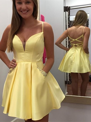 Cute A Line V Neck Yellow Satin Short Prom Dresses,Yellow Backless Short Cocktail party Homecoming Dresses