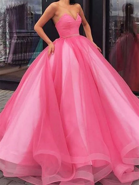 Pink Sweetheart Neck Tulle Long Prom Dresses, Pink Sweetheart Neck Tulle Long Formal Evening Dresses