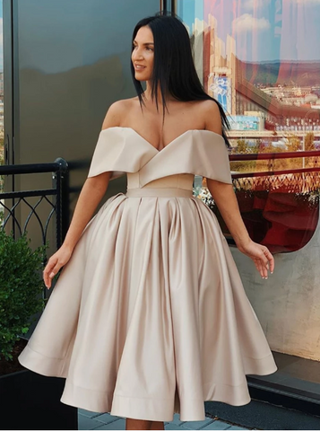 Champagne Off Shoulder Satin Short Prom Dresses , Champagne Formal Dresses, Off The Shoulder Evening Graduation Homecoming Dresses