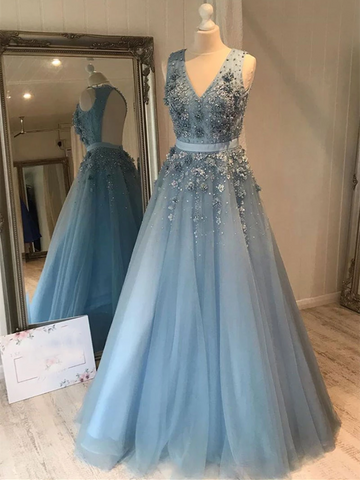 V Neck Blue Tulle Lace Long Prom Dresses, V Neck Blue Tulle Lace Long Evening Dresses