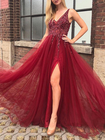 Burgundy v neck tulle beads long prom dress, Burgundy tulle beads formal evening dress