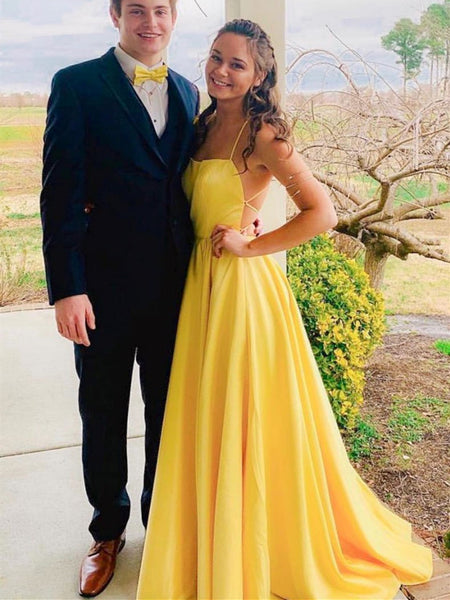 Simple yellow backless long prom dress,  Yellow backless long Formal evening dress