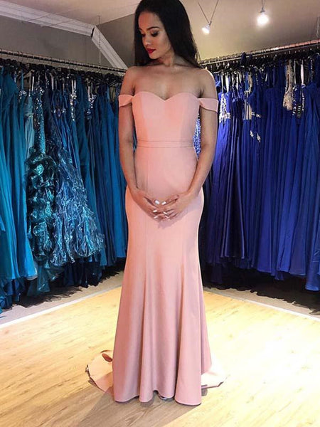 Off the Shoulder Pink Mermaid Long Prom Dress , Off Shoulder Pink Mermaid Evening Dresses
