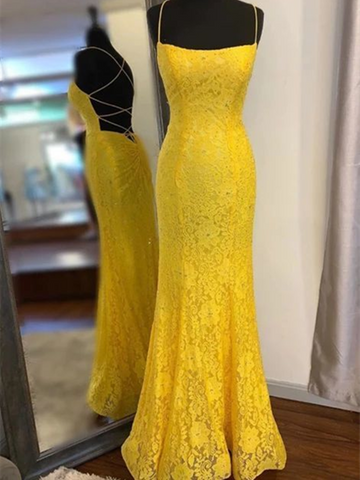 Yellow Mermaid Lace Backless Prom Long Dresses 2020, Graduation School Party Gown, Yellow Mermaid Lace Backless Formal Evening Dresses