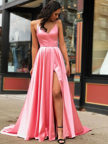 Simple V Neck Pink Satin Long Prom Dresses With Leg Slit, V Neck Pink Satin Long Formal Evening Dresses