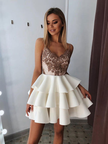 V  Neck Short White Lace Prom Dresses, Short White Lace Homecoming Graduation Cocktail Dresses