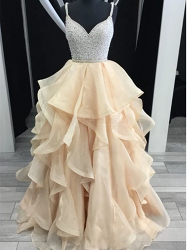 V Neck Champagne Beading Bodice Tulle Long Prom Dress with Layers