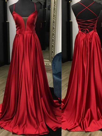 Simple Burgundy Backless Satin Long Prom Dress, Burgundy Backless Satin Long Evening Graduation Dress