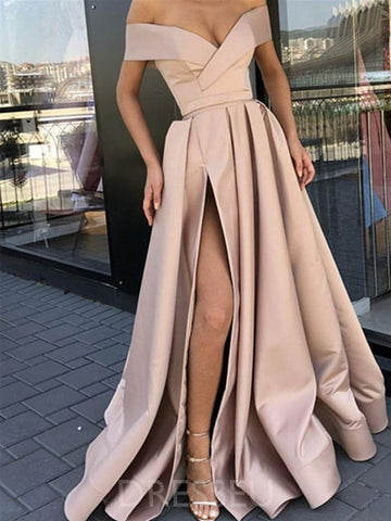 champagne Off The Shoulder Long Prom Dresses With Slit, champagne Off Shoulder Long Formal Evening Dresses