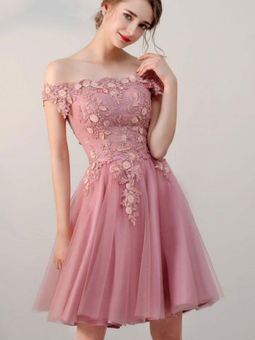 Off-the-shoulder Pink tulle lace short prom dress, pink tulle lace graduation homecoming dress
