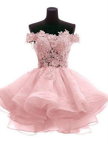 Pink/White Off Shoulder Lace See Through Short Homecoming Dress, Pink/White  Lace Prom Graduation Dress