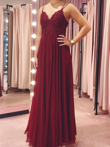 V Neck Backless Burgundy Lace Long Prom Dresses, Backless Burgundy Lace Formal Dresses, Burgundy Lace Evening Dresses