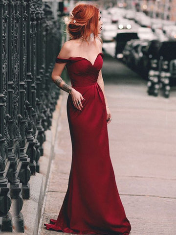 A Line Off The Shoulder Satin Floor-length Long Prom Dresses, Off Shoulder Burgundy Formal Evening Dresses