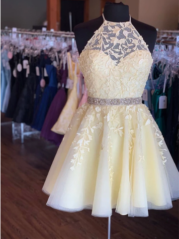 A Line Yellow Tulle Lace Short Prom Dress, Yellow Tulle Lace Short Homecoming Dress