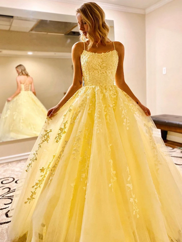 Yellow Backless Tulle Lace Long Prom Dresses, Open Back Yellow Lace Formal Evening Dresses