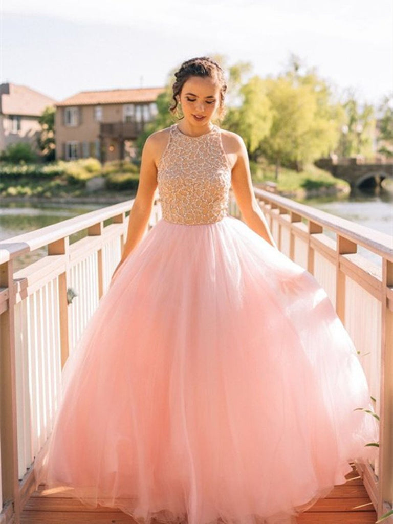 Custom Made Round Neck Pink Prom Dresses, Pink Formal Dresses, Pink Prom Gown