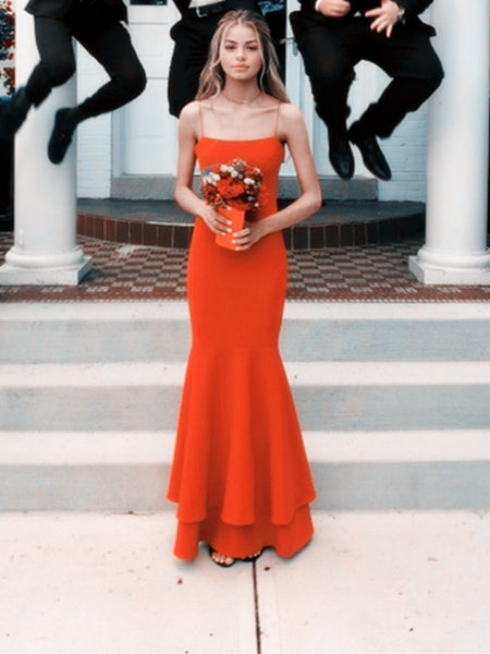 Red Spaghetti Straps Mermaid Prom Dresses, Red Floor Length Formal Dresses, Mermaid Graduation Dresses