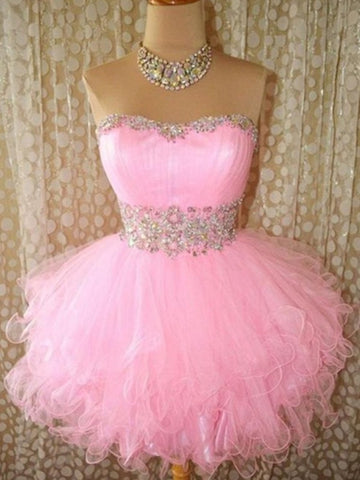 Custom Made Pink Puffy Short Prom Gown, Pink Prom Dresses, Formal Dresses, Homecoming/Graduation Dress