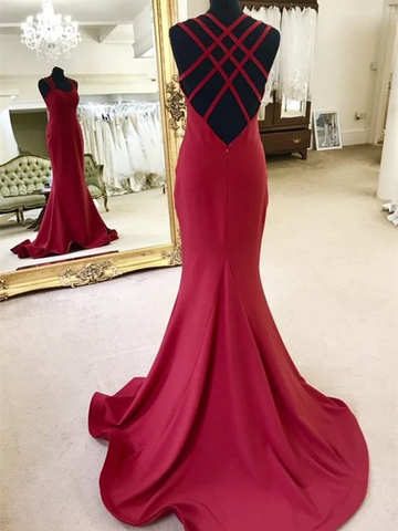 Elegant Sweetheart Neck Strappy Backless Mermaid Burgundy  Prom Dresses with Sweep Train, Open Back Burgundy Mermaid Satin Long Formal Evening Dresses