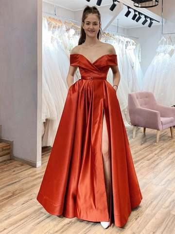 Off the Shoulder Red Satin Long Prom Dresses With High Leg Slit, Off Shoulder Red Formal Evening Dresses
