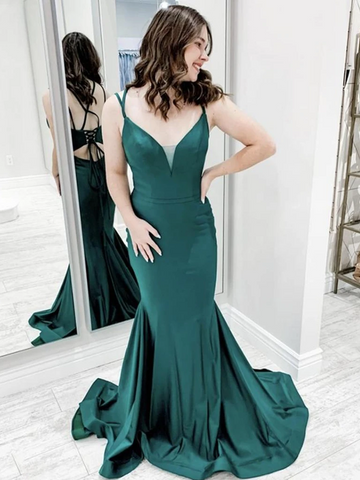 V Neck Backless Green Mermaid Long Prom Dresses, Green Mermaid Formal Evening Graduation Dresses