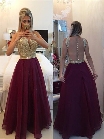 Round Neck Sleeveless Prom Dress with Golden Top and Burgundy Skirt, Formal Dress