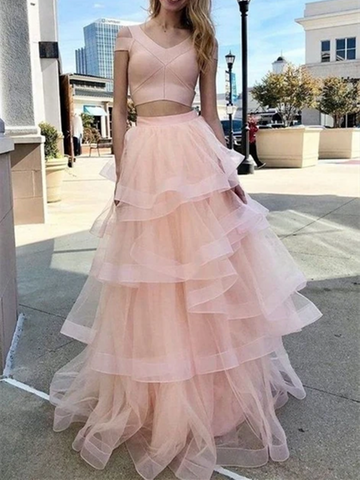 Pink Tulle 2 pieces Long Prom Evening Dresses, Two Pieces Pink Long Formal Evening Graduation Dresses