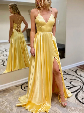 A Line V Neck Long Yellow Satin Prom Dresses with Leg Slit, Long Yellow Satin Formal Evening Dresses