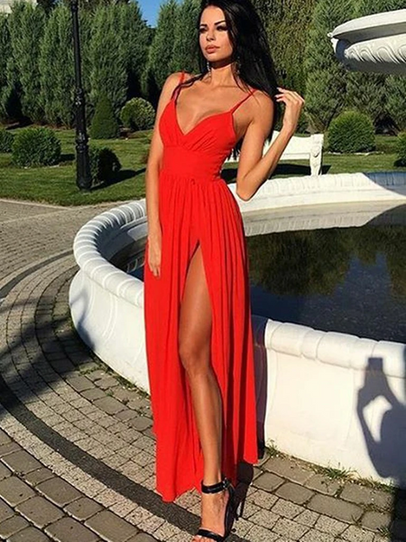 A Line V Neck  Spaghetti Straps Red Chiffon Long Prom Dresses with High Leg Slit, A Line V Neck Spaghetti Straps Red Chiffon Long Formal Evening Dresses