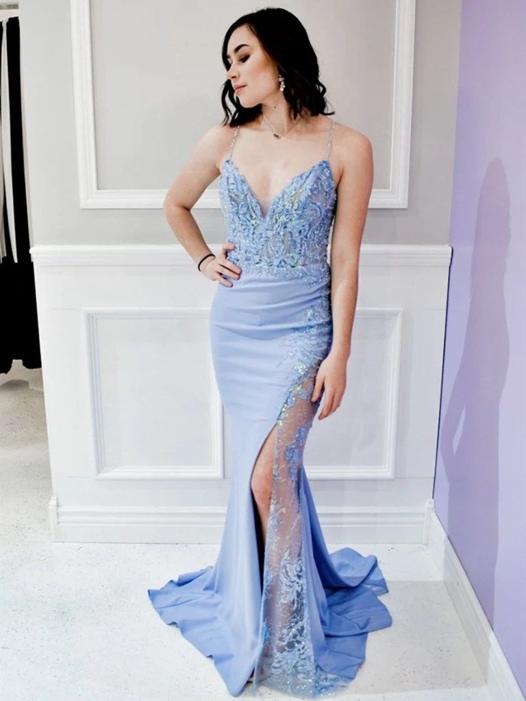 V Neck Blue Mermaid Lace Long  Prom Dresses, Sky Blue Mermaid Lace Formal Evening Dresses, Blue Lace Mermaid Bridesmaid Dresses