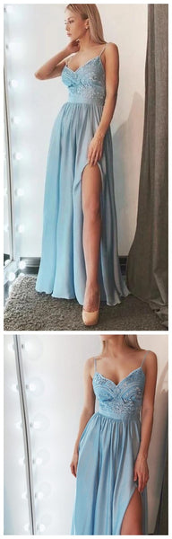 A Line V Neck Spaghetti Strap Blue Lae Prom Dresses With Side Slit , Lace Blue V Neck Long Formal Evening Graduation Dresses