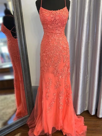 Fitted Criss Cross Back Prom Dresses, Mermaid Backless Orange Lace Long Prom Dresses, Mermaid Orange Lace Formal Dresses, Open Back Orange Lace Evening Dresses