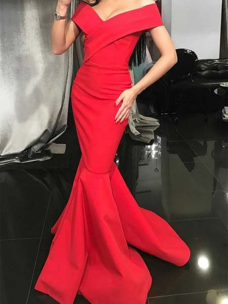 Red Mermaid Off Shoulder Prom Dresses, Red Mermaid Off The Shoulder Formal Evening Dresses