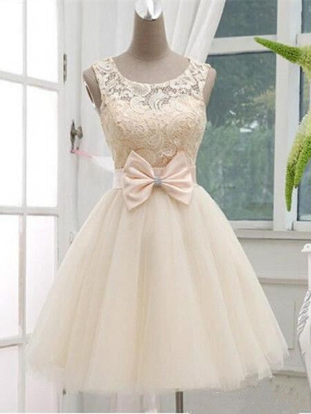 A Line Round Neck Short Lace Prom Dress, Short Lace Bridesmaid Dress, Lace Homecoming Dress, Lace Graduation Dress