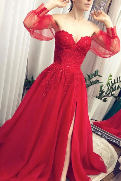 Lace Red Tulle Long Sleeves Prom Dresses, Lace Red Tulle Long Sleeves Formal Evening Dresses