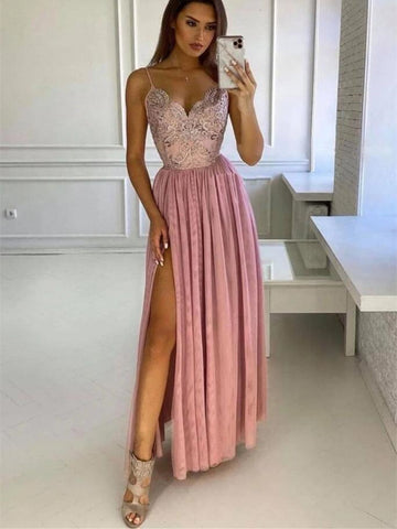 V Neck Pink Lace Long Prom Dresses, V Neck Pink Lace Long Bridesmaid Dresses, Lace Pink Formal Evening Dresses